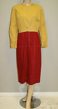 Vintage 1960's Mod Mid Century Red Gold Wiggle Dress W/ Metal Zipper Size 12