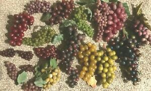 Mixed Lot of 19 Artificial Grape Cluster Bunches Reds Purples Greens Golds