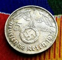 1939 B 5 Mark WW2 German Silver Coin  Third Reich Reichsmark