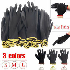 1/12 Pairs Garden PU Nitrile Coated Safety Work Gloves Builders S/M/LGrip  Lot