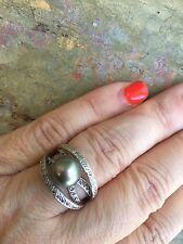 14 KT White Gold Genuine Tahitian Gray South Sea Pearl Pave Diamond Ring Estate