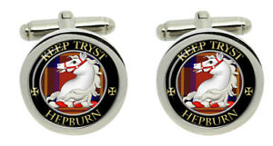 Hepburn Scottish Clan Cufflinks in Chrome Box