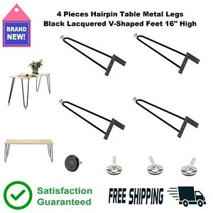 4 Pc. Hairpin Table Legs 16 in. High Black Lacquered Steel V-Shaped Desk Feet 👍