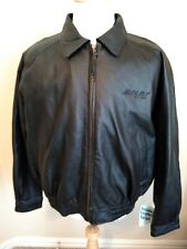 BNSF Railway Mens Genuine LEATHER Jacket XL Black Winter Full Zip Coat NWT