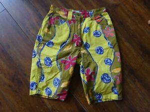 "Ladies Benetton Surf Bermuda Shorts Yellow red Size 8 10 Waist 26"""