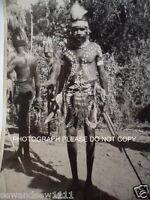 OLD PHOTO ABORIGINAL MAN SPEAR CORROBOREE PAINT FEATHER HEADDRESS  PHOTOGRAPH