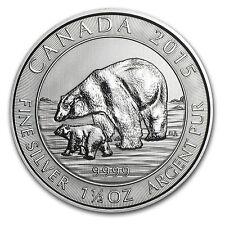 2015 Canada 1.5 oz Silver $8 Polar Bear & Cub BU - SKU #86691