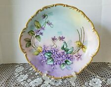 Antique wolfram Wiesau Bavaria Hand Painted Porcelain Cake Plate Violets 11""