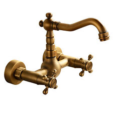 Wall Mounted Bathroom Sink Faucet Tub Filler Mixer Waterfall Spout Antique Brass