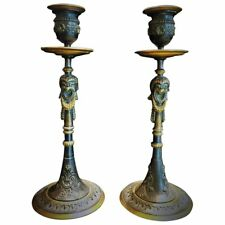 A Pair of Napoleon III French Bronze Candlesticks, circa 1860s