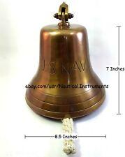 "Nautical Brass Heavy Ship Bell With Wall Mount Bracket U.S. NAVY Home Decor 10"""