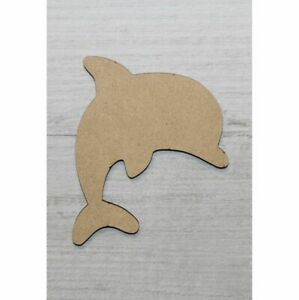 WOODEN MDF SHAPES DOLPHIN SCRAPBOOK CRAFT EMBELLISHMENTS KIDS GIFT CARD MAKING