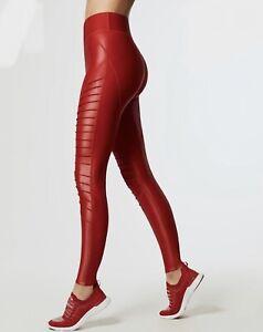 Carbon 38 Glossy Moto Legging Large L Red Liquid Tight Fit Pant Takara