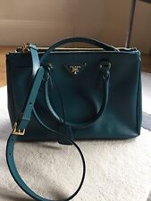 Authentic PRADA Turquoise / Ottanio Luxury Tote Purse Shoulder Bag Handbag