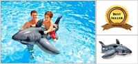 Pool Swimming Float Giant Shark Inflatable Kids Ride-On Toy Rafting Water Beach