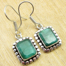 """Silver Plated Jewelry Online Store Simulated Emerald Shop Handmade Earrings 1.3"""""""