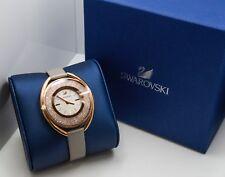 Swarovski Crystalline Oval Watch- Rose-tone stainless, genuine leather band