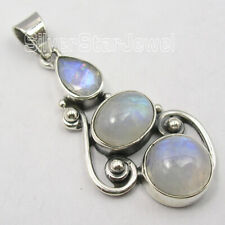 "925 Pure Silver Rainbow Moonstone 8.0 TCW Necklace Pendant 1.6"" Engagement Gift"