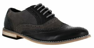 Mens Classic 2 Black Grey Faux Leather 2 Tone  Lace Up Shoes Brogues Size uk 8