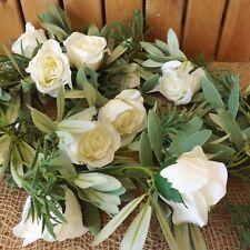 Blanco Antiguo/Crema Eternidad Seda Rosa Flor Guirnalda 1.85m Boda Hogar Evento