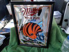 Vintage Miller High Life Salutes Cincinnati Bengals Framed Mirror 1990