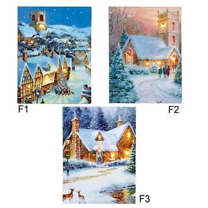 Christmas Canvas Picture 40cm x 30cm LED Light up - House - F1 F2 F3
