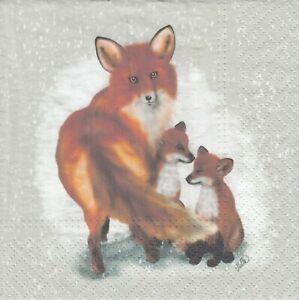 3 Lunch Papier Servietten Napkins (Y30-17)  Fuchs mit Jungen