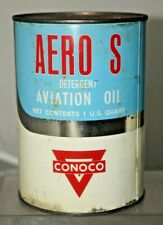 RARITY NOS 1940s - 50s Conoco Aero S Aviation Aircraft Advertising Gas Oil Can 1