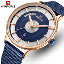 NAVIFORCE Quartz Waterproof Mens Wristwatches Steel Mesh Male Sports Watch Date
