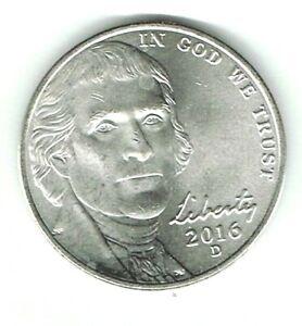 2016-D Denver Uncirculated Business Strike Jefferson Nickel Five Cent Coin!