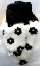 "Betsy Johnson Black Faux Fur Floral Wrap Scarf White  Flowers Lined 72"" One Size"