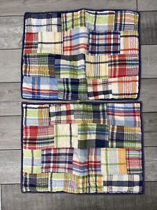 Lot 2 POTTERY BARN KIDS cotton patchwork plaid standard pillow shams, Madras