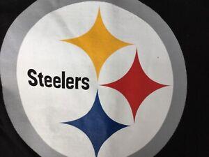 Pittsburgh Steelers NFL Halogram Team Apparel Short Sleeve Black T-Shirt-Large