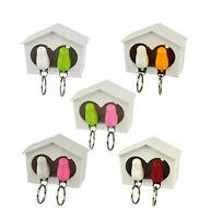 Double White Wood House Sparrow Bird Key Ring Holder Whistle Safe Gift SOS NEW