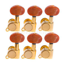 6L Acoustic Guitar Machine Heads Tuners Gold Plated Amber Red Button Tuning Pegs