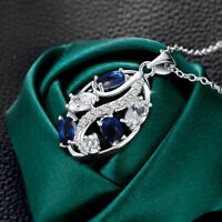 Wholesale925 Sterling Sliver Filled Sapphire Clear CZ With Crystal Leaf Necklace
