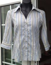 NEXT MULTI COLOURED STRIPED 3/4 SLEEVED FITTED BLOUSE - SIZE 8