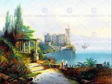 PAINTING LANDSCAPE BANAGGIOLI MIRAMARE CASTLE TRIESTE ITALY LAKE ART PRINT CC695