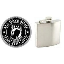 "Pow Mia Sticker 3 1/4"" & Stainless Steel Hip Flask 6oz Container"