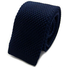 New Luxury Mens Blue Plain Woven Tie (Necktie Solid Men Knitted Skinny Fashion)