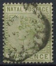 Natal 1887-9 sg#107, 2d Verde Oliva QV DIE II USATO #d21583