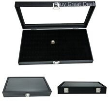 Ring Display Case Jewelry Storage Box Organizer Glass Top 72 Slot Tray Holder