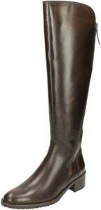 Clarks Ladies Knee-High Boot VALANA MELROSE Dark Brown Leather UK 7 WIDE FIT