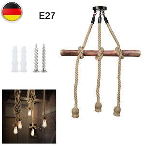 VINTAGE ELEKTROKABEL HANFSEIL HÄNGEND LAMPENFASSUNG DECKE 3 KOPF-LAMPE LICHT E27