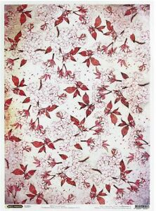 Rice paper for decoupage. Cherry Flowers. 11.1 x 15.11 inches. Made in Russia