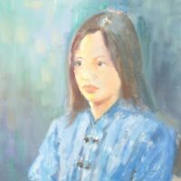 English School oil painting Portrait lady in blue impressionist mid 20th century