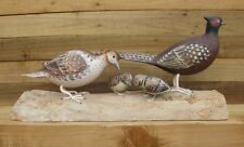 Wood carving of FAMILY OF PHEASANTS by Archipelago - D375 carvings