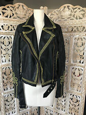 NWT $248 Free People Bang Bang Vegan Embroidered Military Biker Leather Jacket S