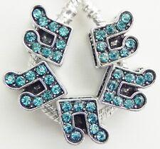 5 Music Notes Aqua Turquoise Stone Charm European Style 11 * 11 & 5 mm Hole R071