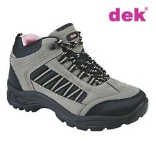 LADIES Hiking Trekker Walking Trail Ankle Boots Grey and Pink Sizes 3 4 5 6 7 8